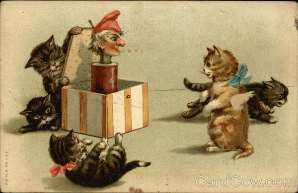 Five Kittens Playing with a Jack-in-the-box Cats