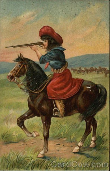 Girl Sitting on a Horse While Holding a Rifle - Annie Oakley