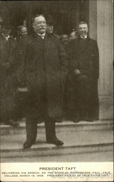 President Taft delivering his speech, on the steps of Woodbridge Hall, Yale College, March 19, 1909