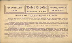 Hotel Crystal - Story of the Johnstown Flood, May 31, 1889