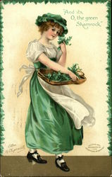 Girl with Basket of Shamrock