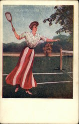 Woman in Long Striped Skirt Playing Tennis