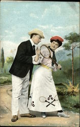 Man with Woman Holding Tennis Racket