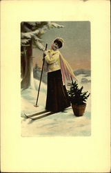 Girl in Long Black Skirt and Yellow Jacket on Skis