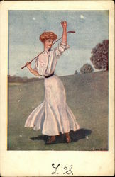 Woman in Long White Dress Playing Golf