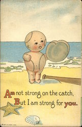Baseball Baby on Beach Postcard