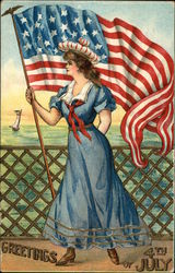 Greetings 4th of July - Patriotic Woman holding Flag