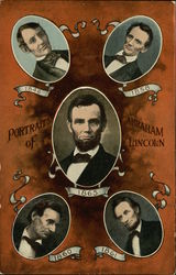 5 Views of Abraham Lincoln Postcard