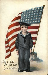 United States Marine - Boy in Uniform in front of American Flag
