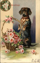 Dachshund and Basket of Flowers
