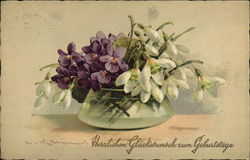 Violets and Snowdrops Bouquet in Vase