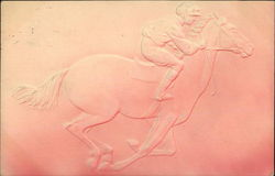 Embossed Jockey Riding A Race Horse Postcard
