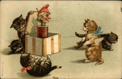 Five Kittens Playing with a Jack-in-the-box