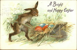 A Bright and Happy Easter - Rabbit with Barrow of Easter Eggs