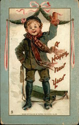 A Happy New Year - Boy with Sled
