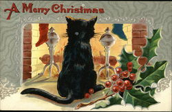 A Merry Christmas - Black Cat in Front of Fire