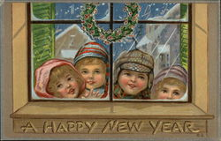 A Happy New Year - Children Looking Through Window