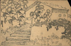 Pencil Drawing of House Surrounded by Sunflowers