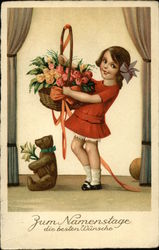 Birthday Wishes - Girl with Basket of Roses