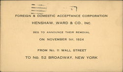 Foreign & Domestic Acceptance Corporation, Henshaw, Ward & Co., Inc