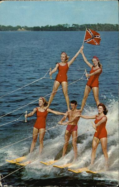 Human Pyramid On Water Skis Cypress Gardens Florida