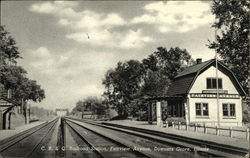 C. B. & Q Railroad Station Postcard