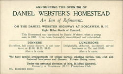 Announcing the Opening of Daniel Webster's Homestead