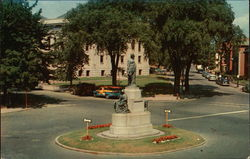 Soldiers Monument, Library and Common Postcard
