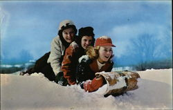 Three Girls And A Toboggan Postcard
