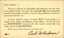 Carl W. Anderson City Council Reelection Announcement 1949