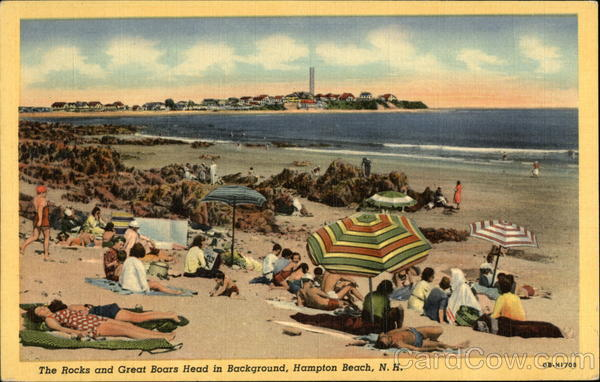 The Rocks and Great Boars Head in Background Hampton Beach New Hampshire