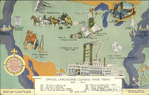 Mark Twain Literary Map Maps