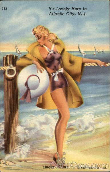 It's Lovely Here in Atlantic City, N.J New Jersey Swimsuits & Pinup