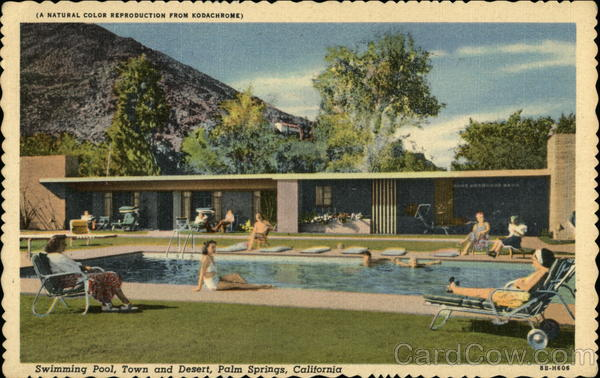 Swimming Pool, Town and Desert Palm Springs California