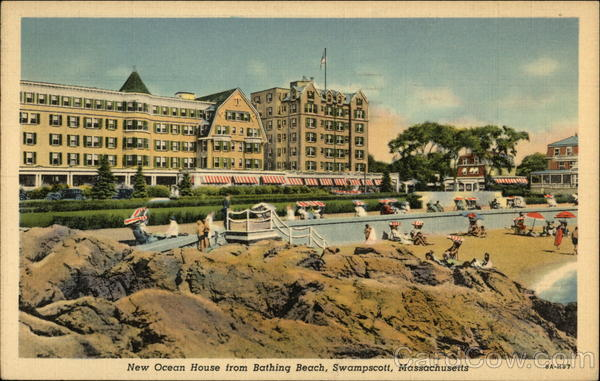 New Ocean House from Bathing Beach Swampscott Massachusetts