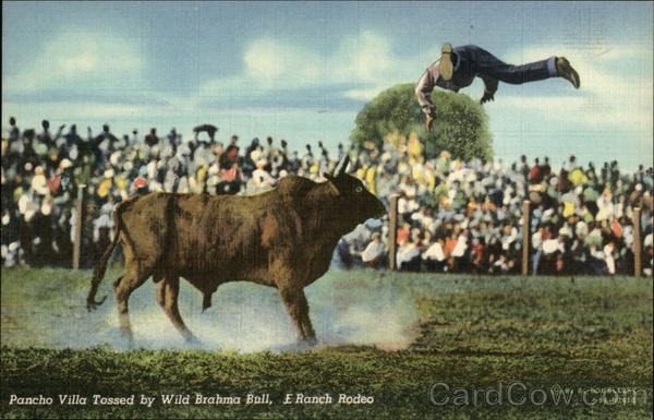 Pancho Villa Tossed by Wild Brahma Bull, E. Ranch Rodeo