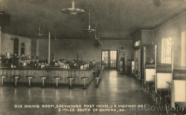 Bus Dining Room, Greyhound Post House, U.S. Highway No. 1 Oxford Pennsylvania