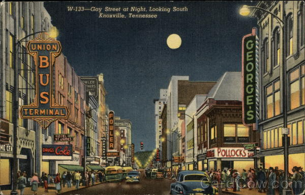 Gay Street at Night, Looking South Knoxville Tennessee