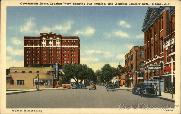 Government Street, Looking West, Showing Bus Terminal and Admiral Semmes Hotel Mobile Alabama