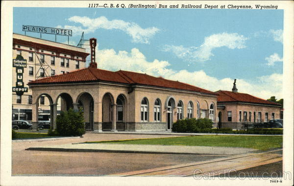 C.B. & Q. (Burlington) Bus and Railroad Depot Cheyenne Wyoming
