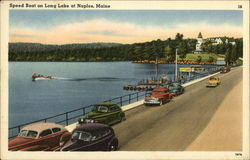 Speed Boat on Long Lake Postcard