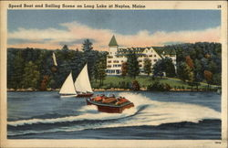 Speed oat and Sailing Scene on Long Lake Postcard