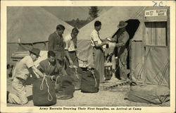 Army Recruits Drawing Their First Supplies on Arrival at Camp