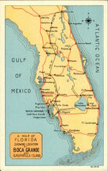 Map of Florida Showing Location of Boca Grande and Gasparilla Island