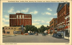 Government Street, Looking West, Showing Bus Terminal and Admiral Semmes Hotel