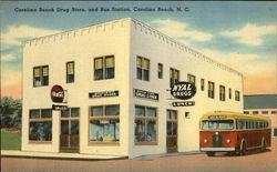 Carolina Beach Drug Store and Bus Station Postcard