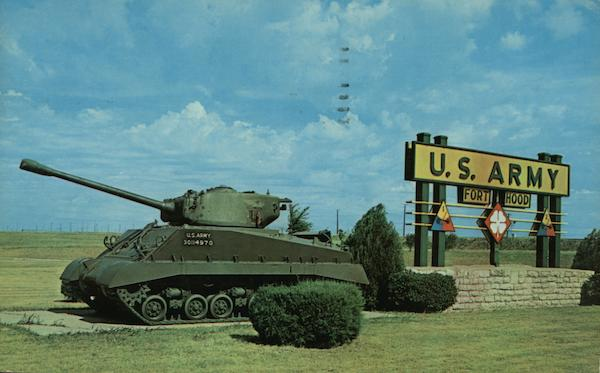 Armored tank and sign Fort Hood Texas