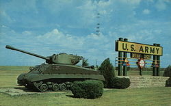 Armored tank and sign
