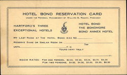 Hotel Bond - Reservation Card