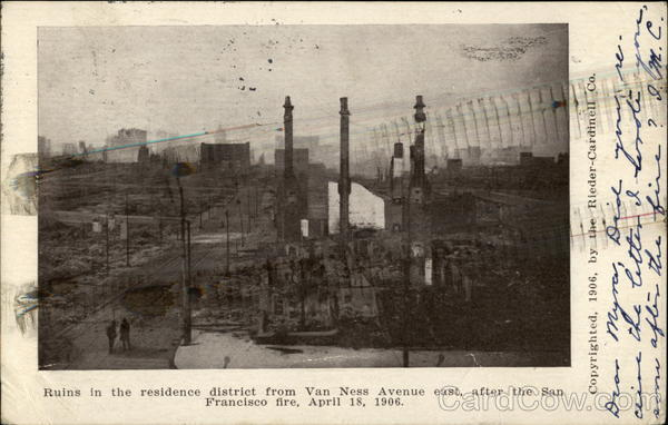 The San Francisco Fire of 1906 - Ruins In The Residence District California